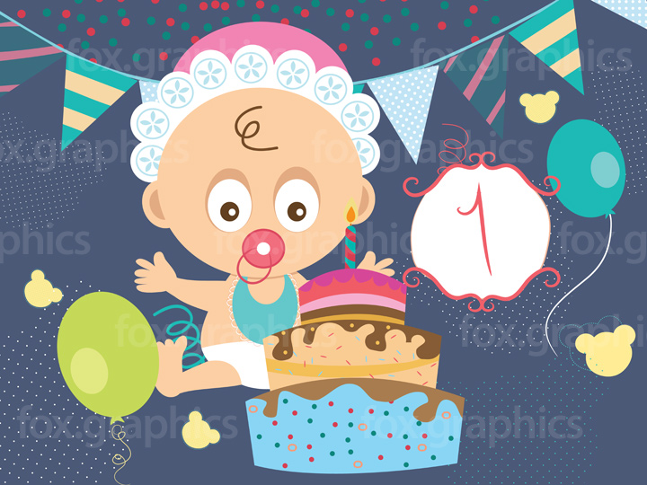 Cartoon baby birthday