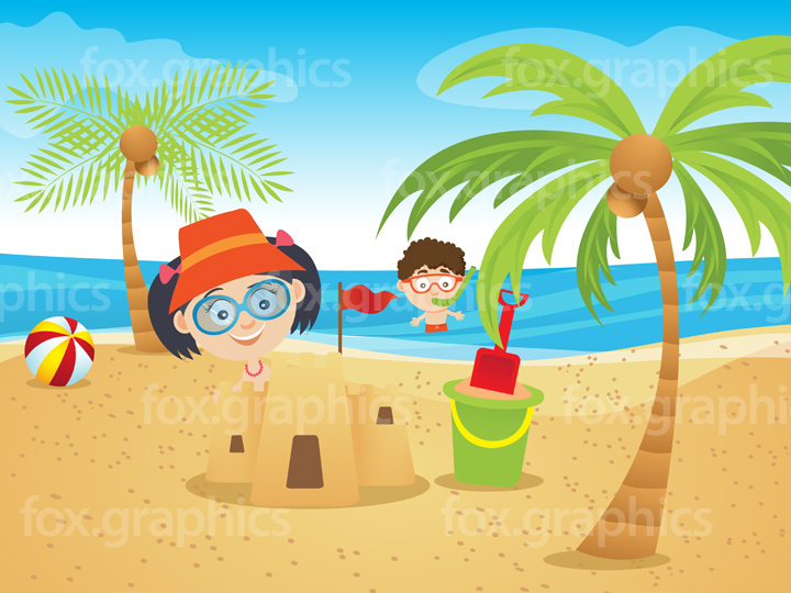 Summer beach with kids illustration