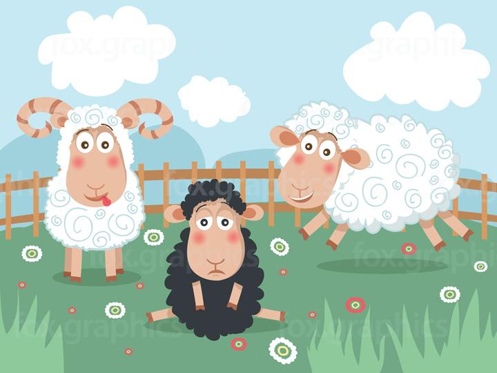 Sad black sheep illustration