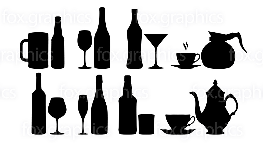 Bottles, glasses and cups vector symbols