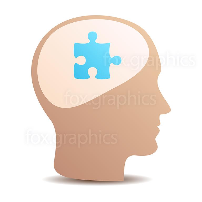 Brain puzzle, vector