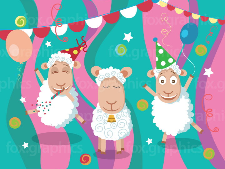 Cartoon sheep party