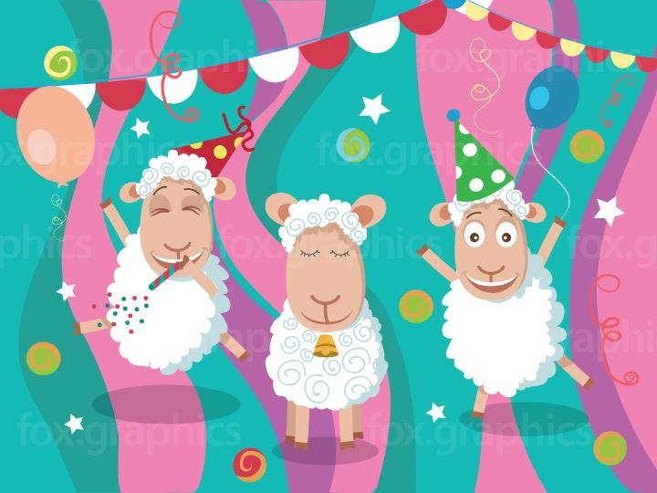 Cartoon sheep party