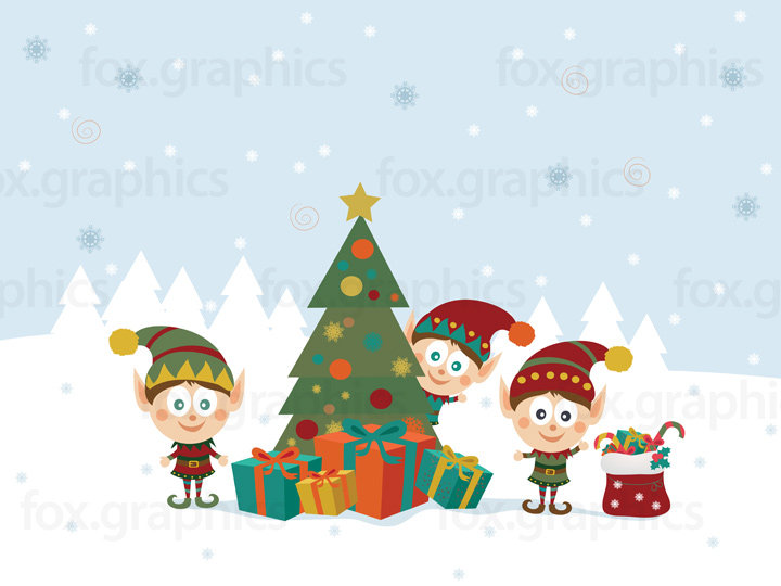 Christmas elves illustration