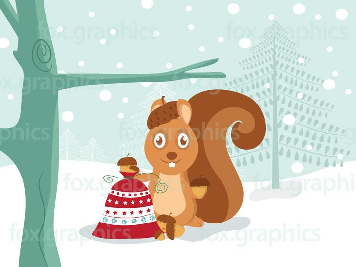 Christmas squirrel illustration
