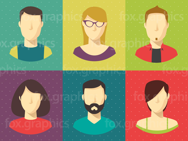 Cool people icons, vector