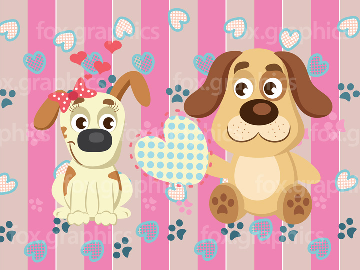 Dogs in love illustration
