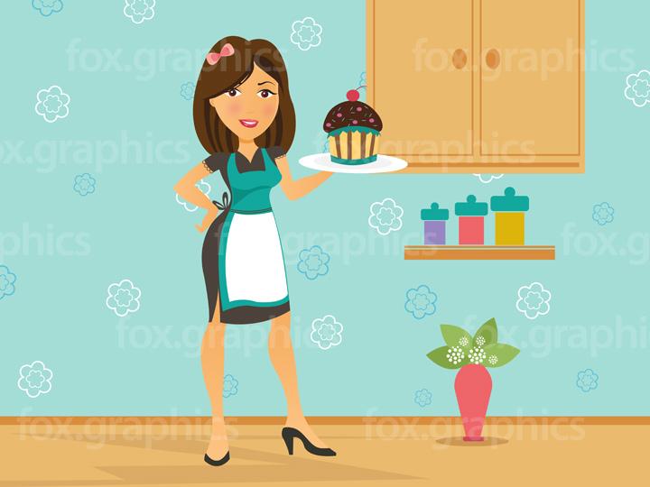 Girl serving cake illustration