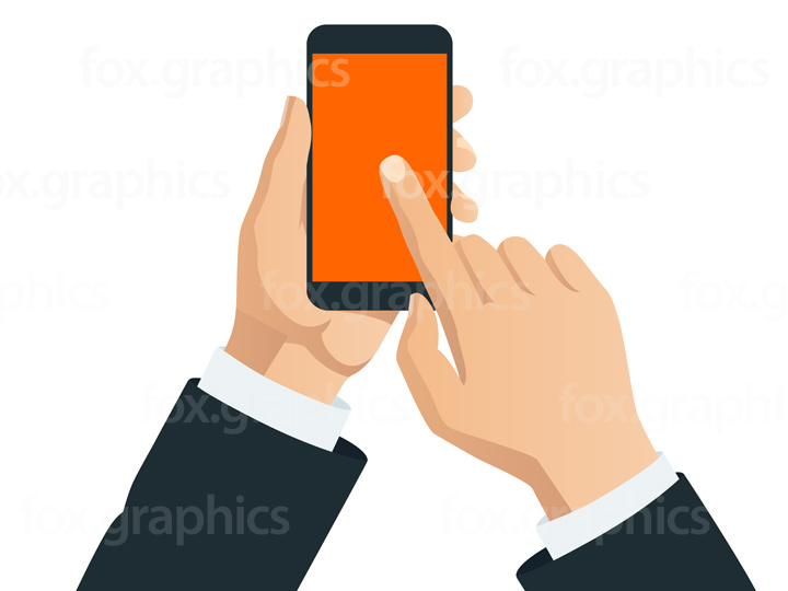 Hands with smartphone illustration
