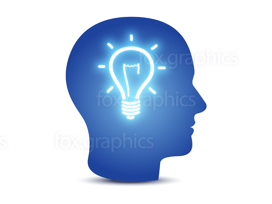 Head with lightbulb, idea concept