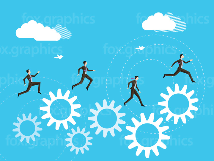 Businessman jumping to success