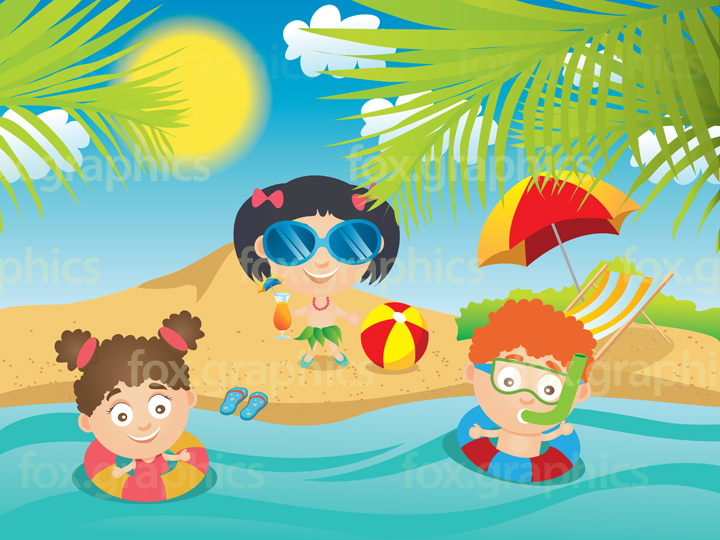 Kids swimming illustration