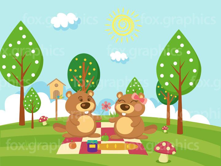 Lovely beavers picnic illustration