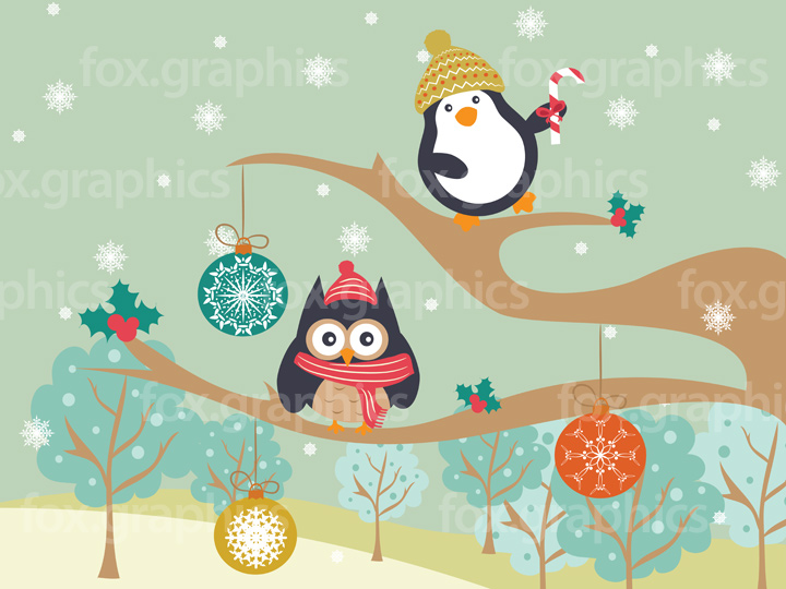 Playful penguin and owl friends