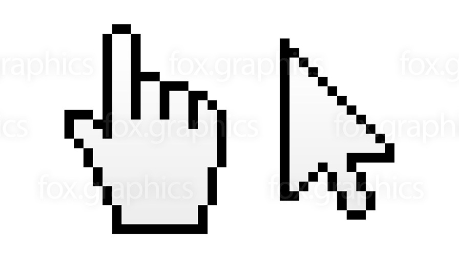 Hand pointer and arrow cursor (vector)