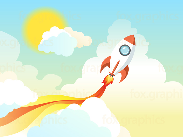 Flying rocket illustration