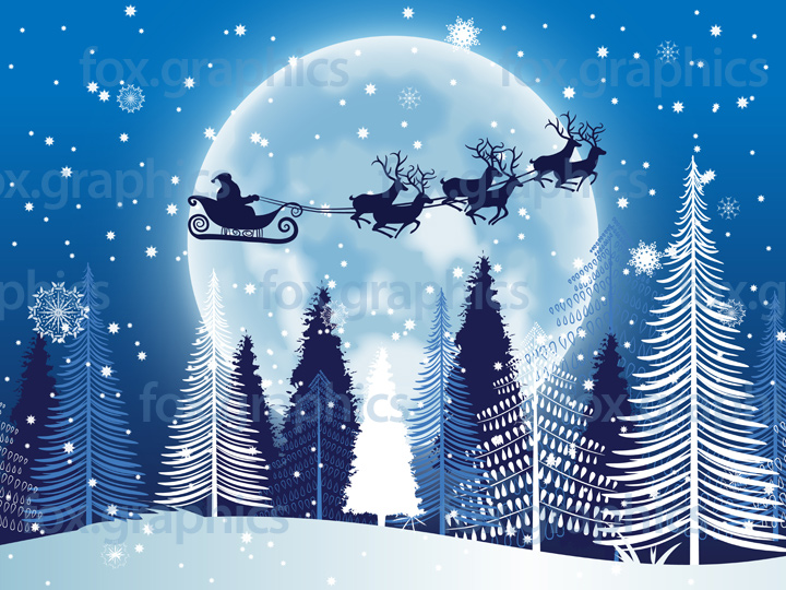 Santa flying over the Moon illustration