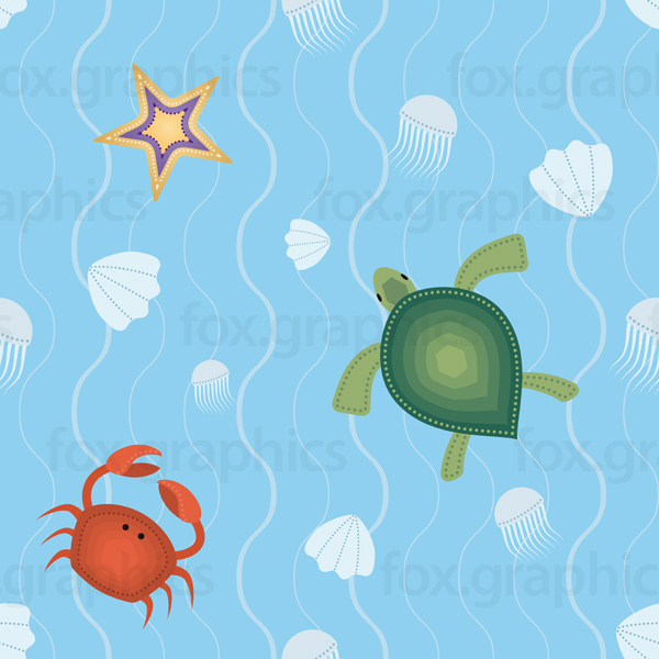Sea life pattern, vector