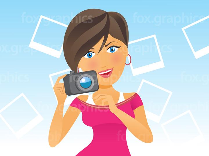 Selfie girl illustration