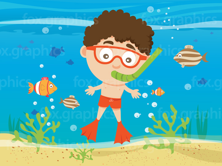 Cartoon boy snorkeling