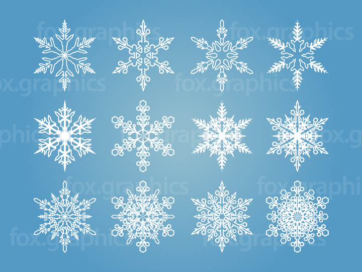 Stylish snowflakes set