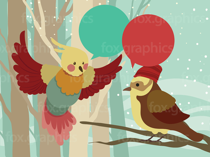 Talking birds illustration
