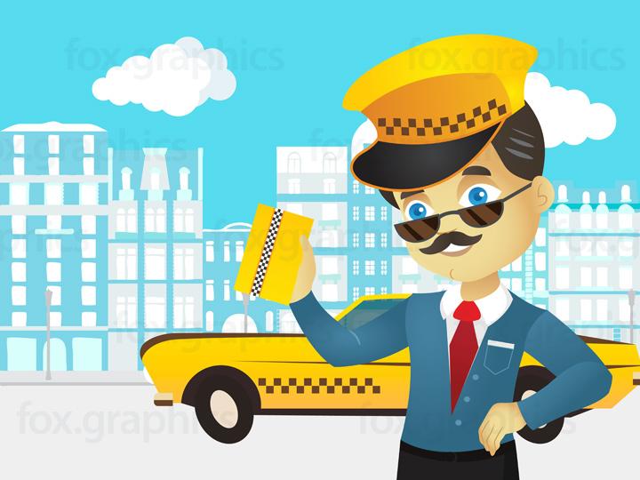 Taxi driver illustration