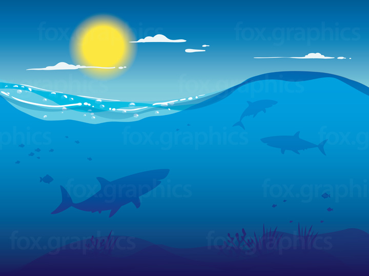 Vector underwater sharks