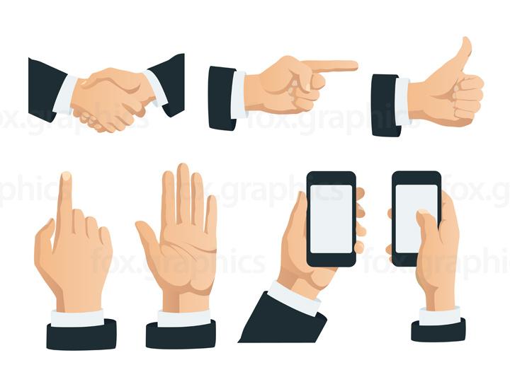 Vector hands gestures