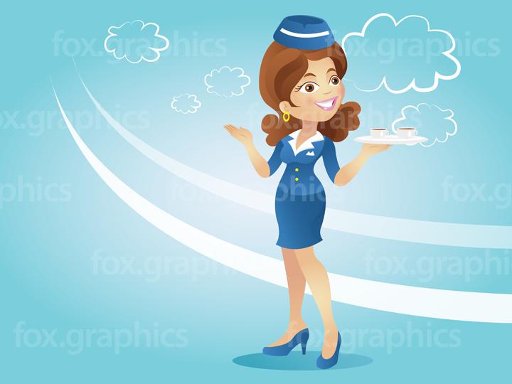 Vector stewardess illustration