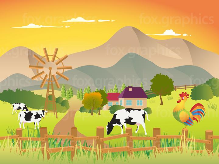 Vector village illustration