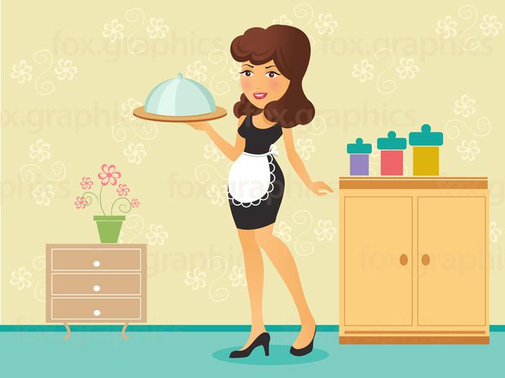 Waiter girl illustration