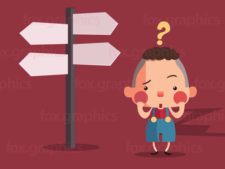 Which way to go? Confused boy illustration