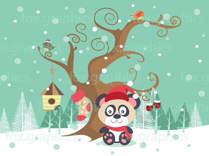 Winter bear illustration